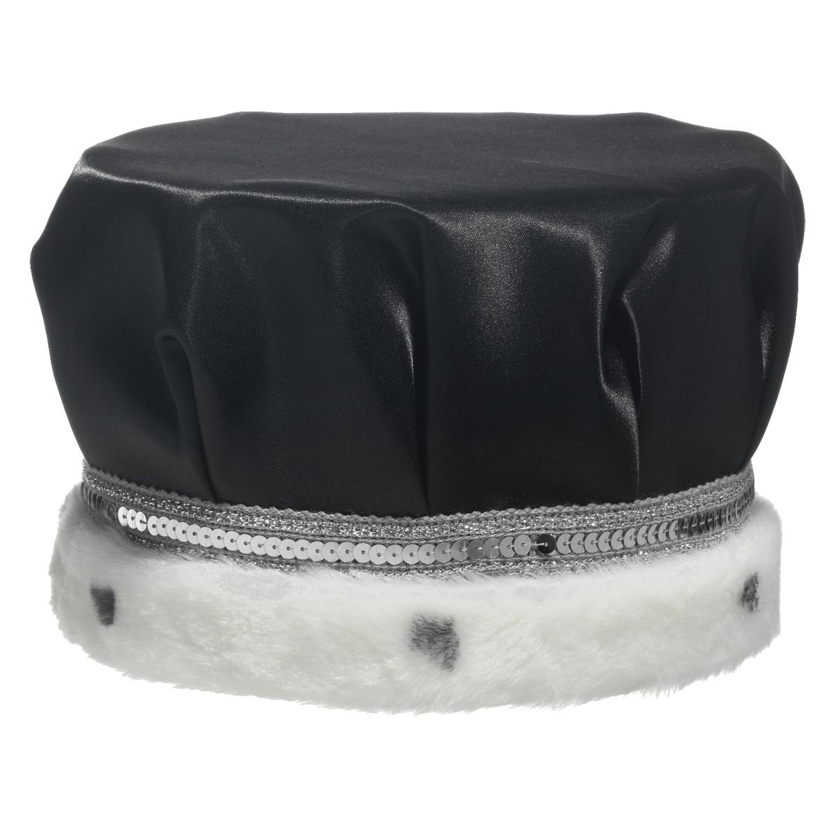 TCDesignerProducts Black Satin Crown with Silver Trim and Faux Fur by TCDesignerProducts