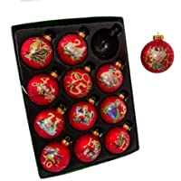 Kurt Adler 12-Piece 12-Days of Christmas Decorative Glass Balls Set, 65mm