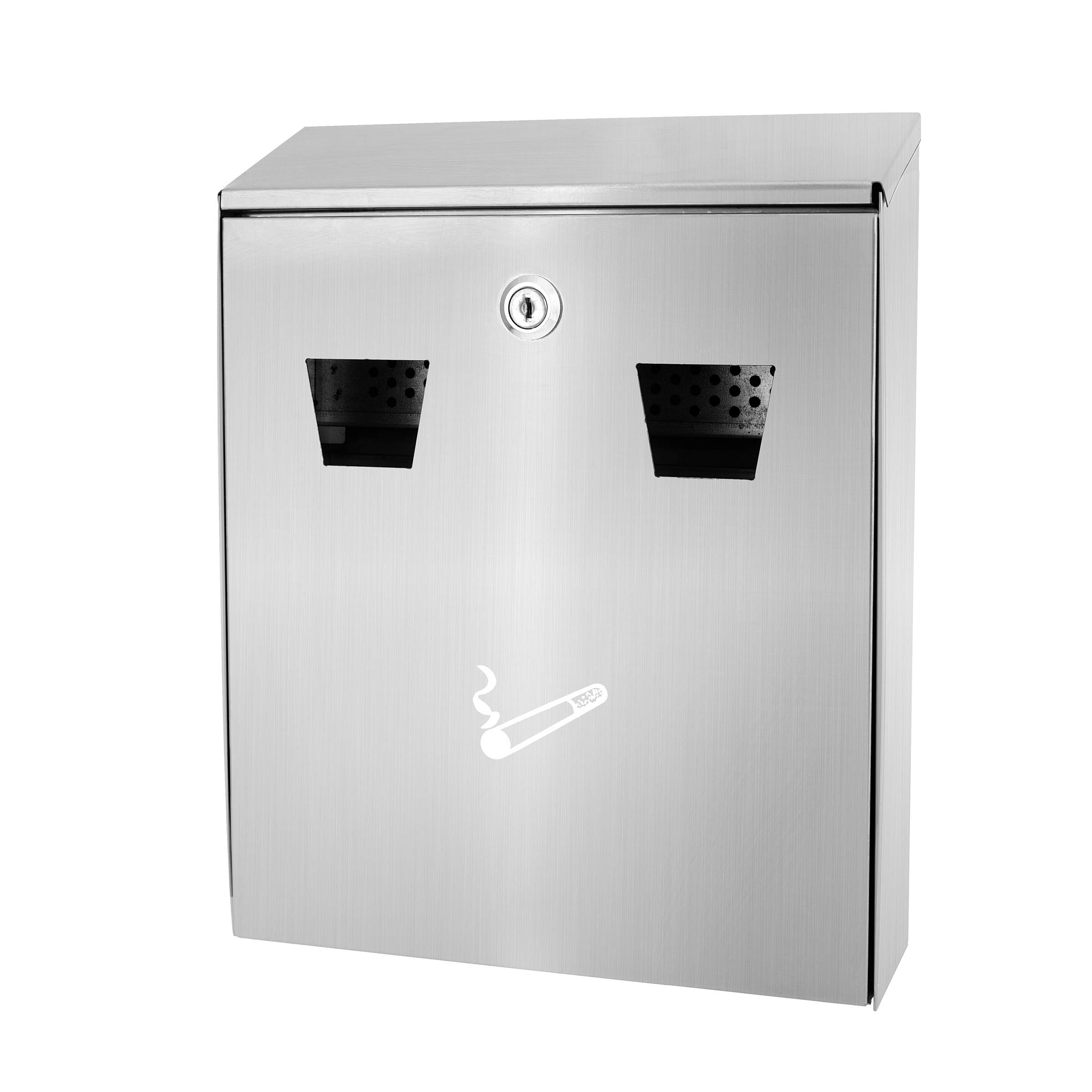Alpine Industries All-in-One Cigarette Disposal Station - Wall Mounted Receptacle Box - Easy Cigarette Waste Accommodation - for Outdoor Use