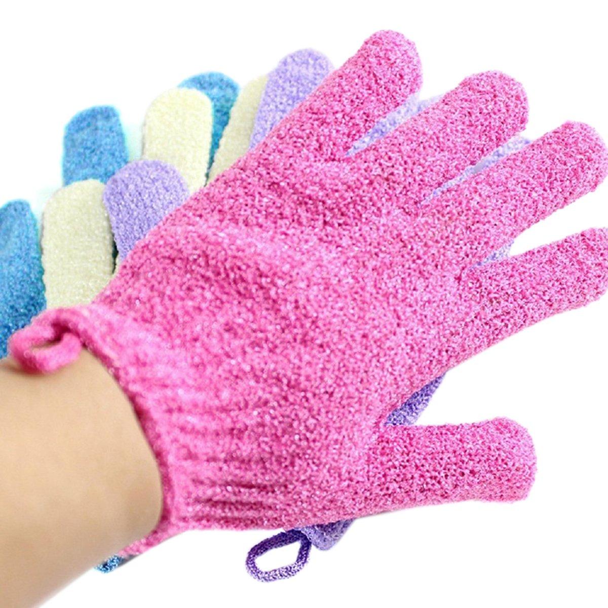 Moonmini® 4 Pair Set Scrubbing Exfoliating Gloves ★ Double Side Durable Nylon Shower Gloves ★ Body Scrub Exfoliator for Men, Women & Kids ★ Bath Scrubber for Acne & Dead Cell