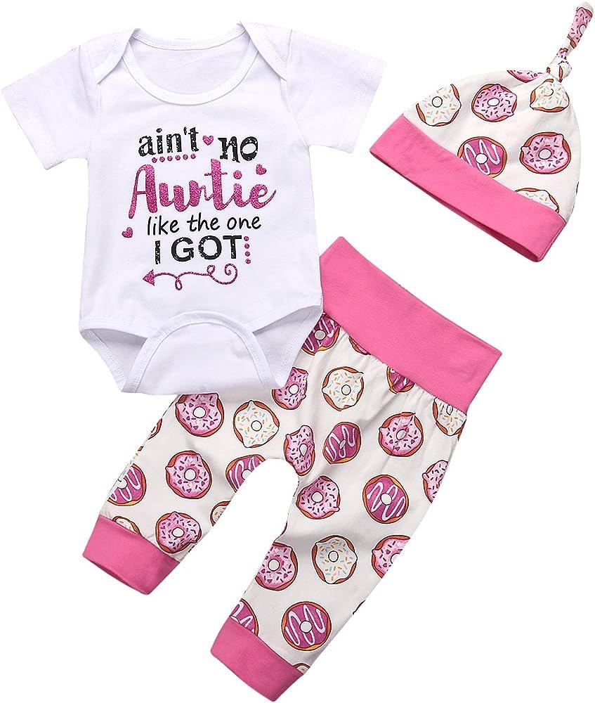 YOUNGER TREE 3Pcs Newborn Baby Auntie Letter Print Short Sleeve Romper Doughnut Pants Hats Summer Clothing Set