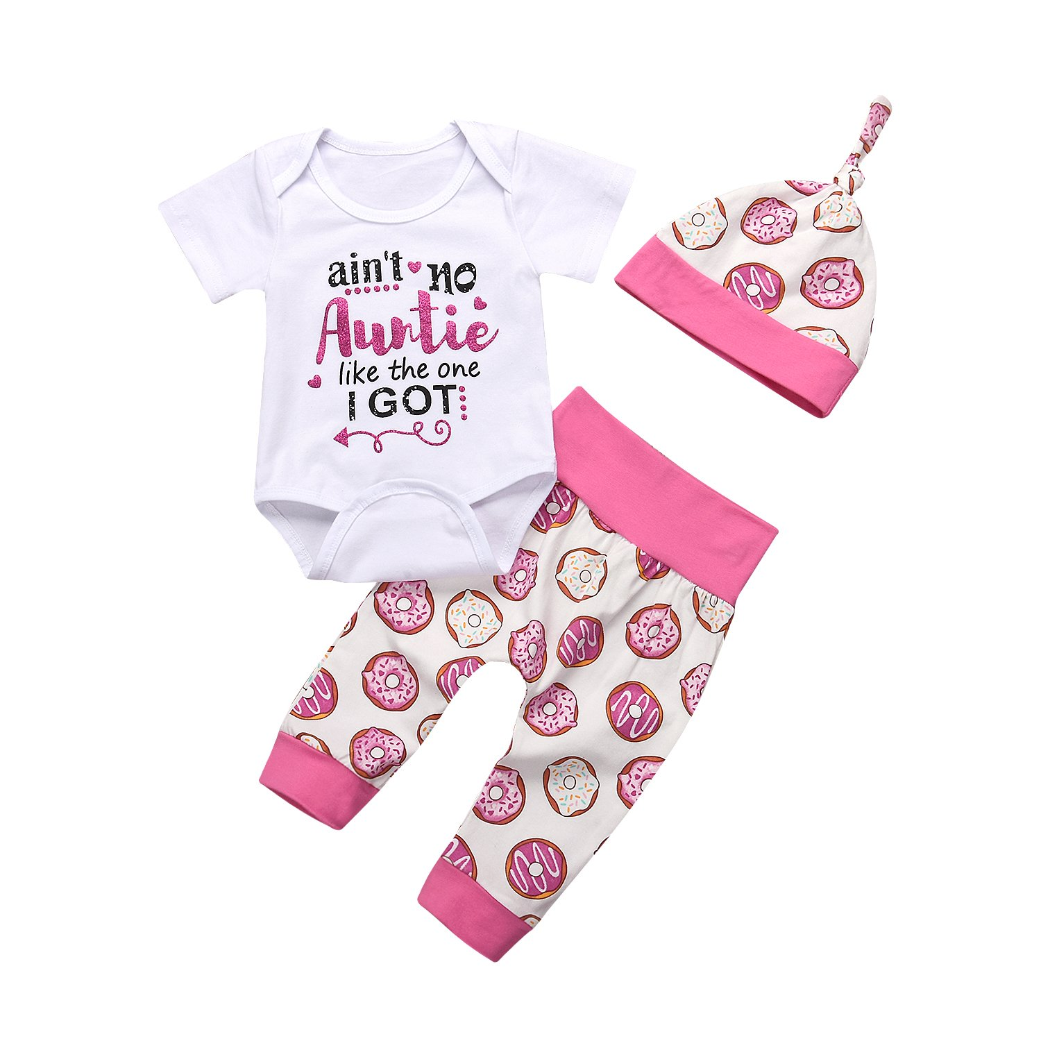 Misbeky 3Pcs//Set Newborn Baby Girl Summer Outfit Auntie Bodysuit Romper with Headband+Donuts Long Pants Clothes