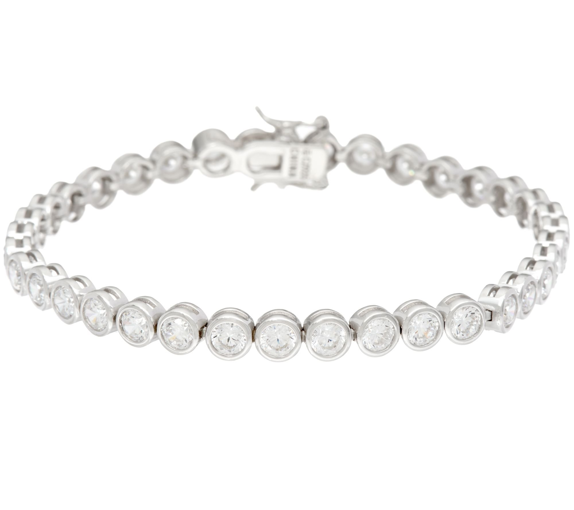 Silvostyles 7.60 Carat Round Bezel Set D/VVS1 Diamond 14K White Gold Plated Tennis Bracelet