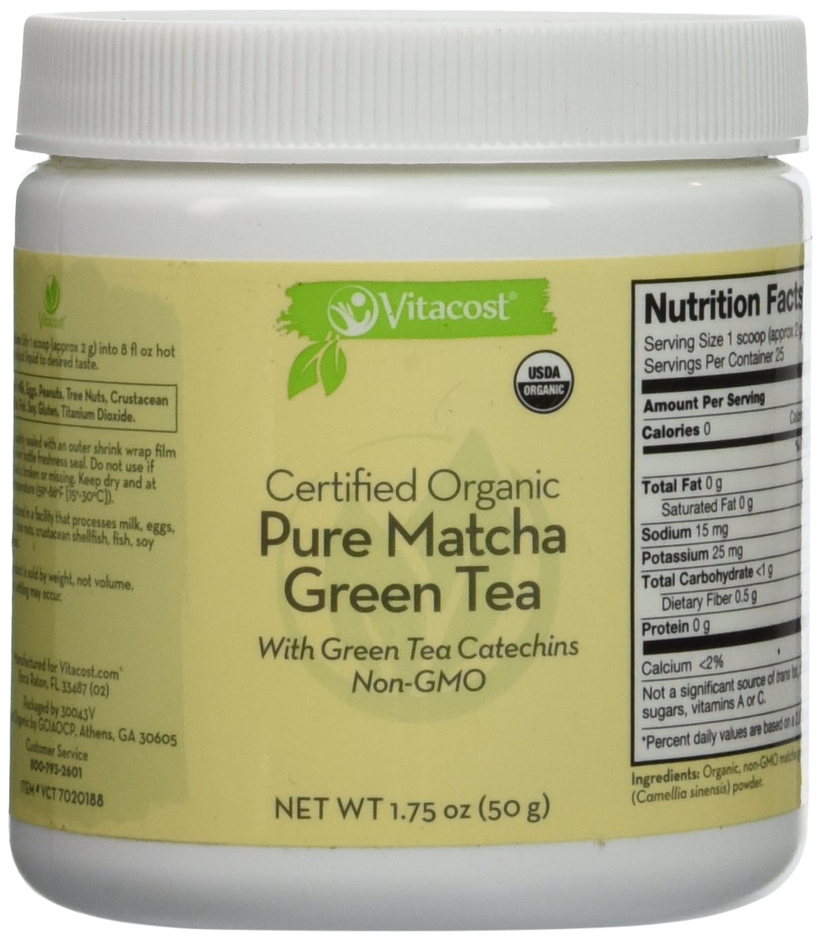 Vitacost Whole Food Certified Organic Pure Matcha Green Tea - Non-GMO - 1.75 oz (50 g)