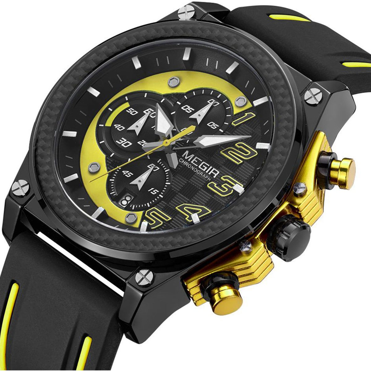Men Military Watch Quartz Watch Analog Waterproof Silicone for Business Casual Watches for LIANDU Brand (yellow)