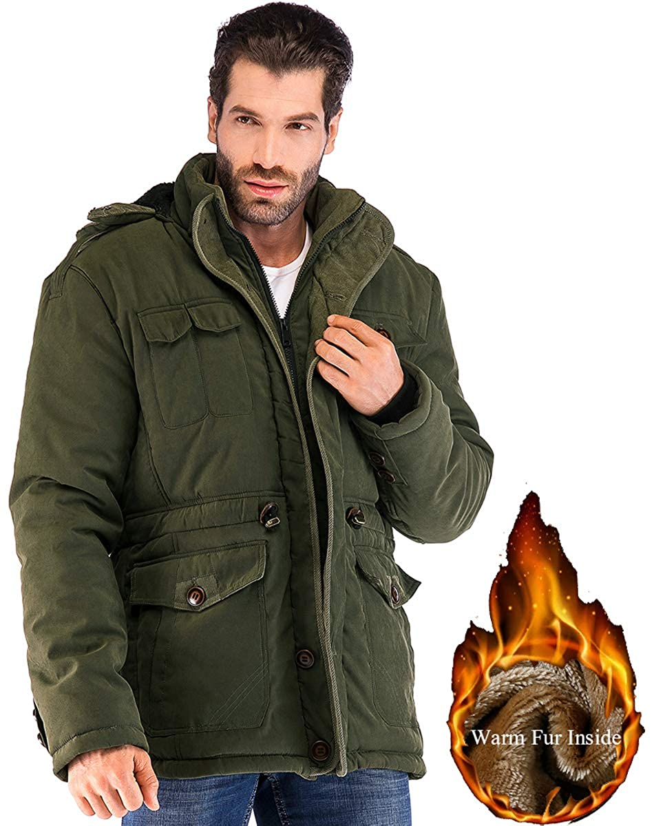 a33d05cbc31 Amazon.com  Yozai Mens Winter Military Warm Jacket Fleece Coat with  Detachable Fur Hood Outwear  Clothing