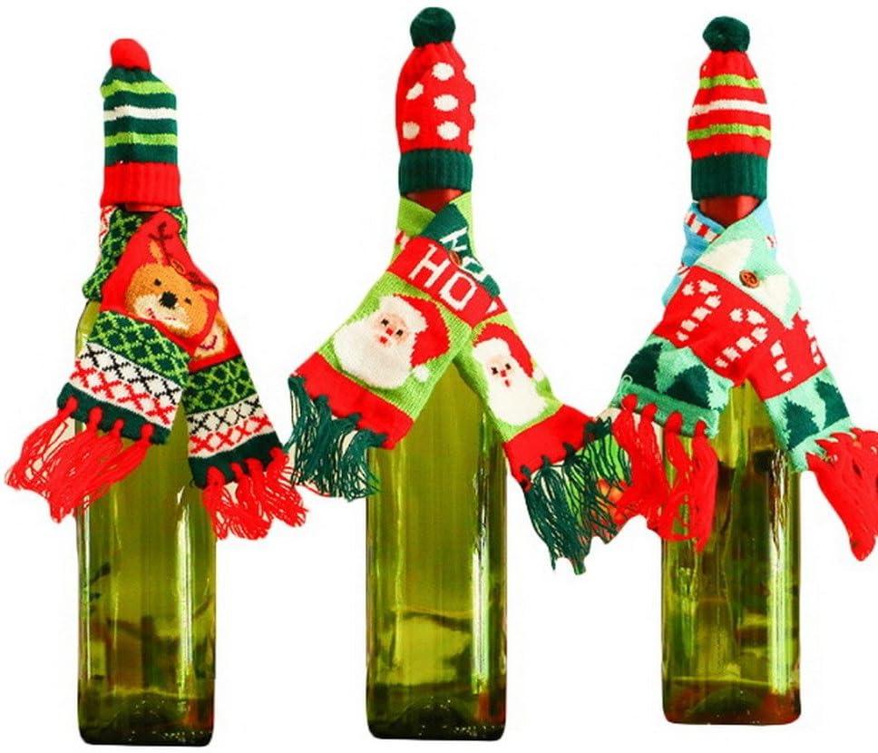COMVIP Christmas Snowman Santa Reindeer Knit Scarf Hat Wine Bottle Suit Color