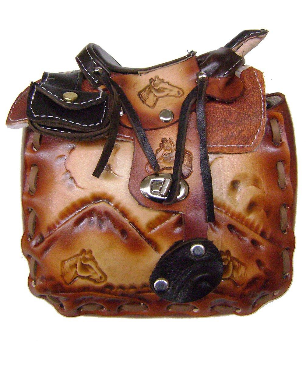 Modestone Large Leather Shoulder Bag Decorative Saddle Shape 8'' x 8'' x 3 3/4''