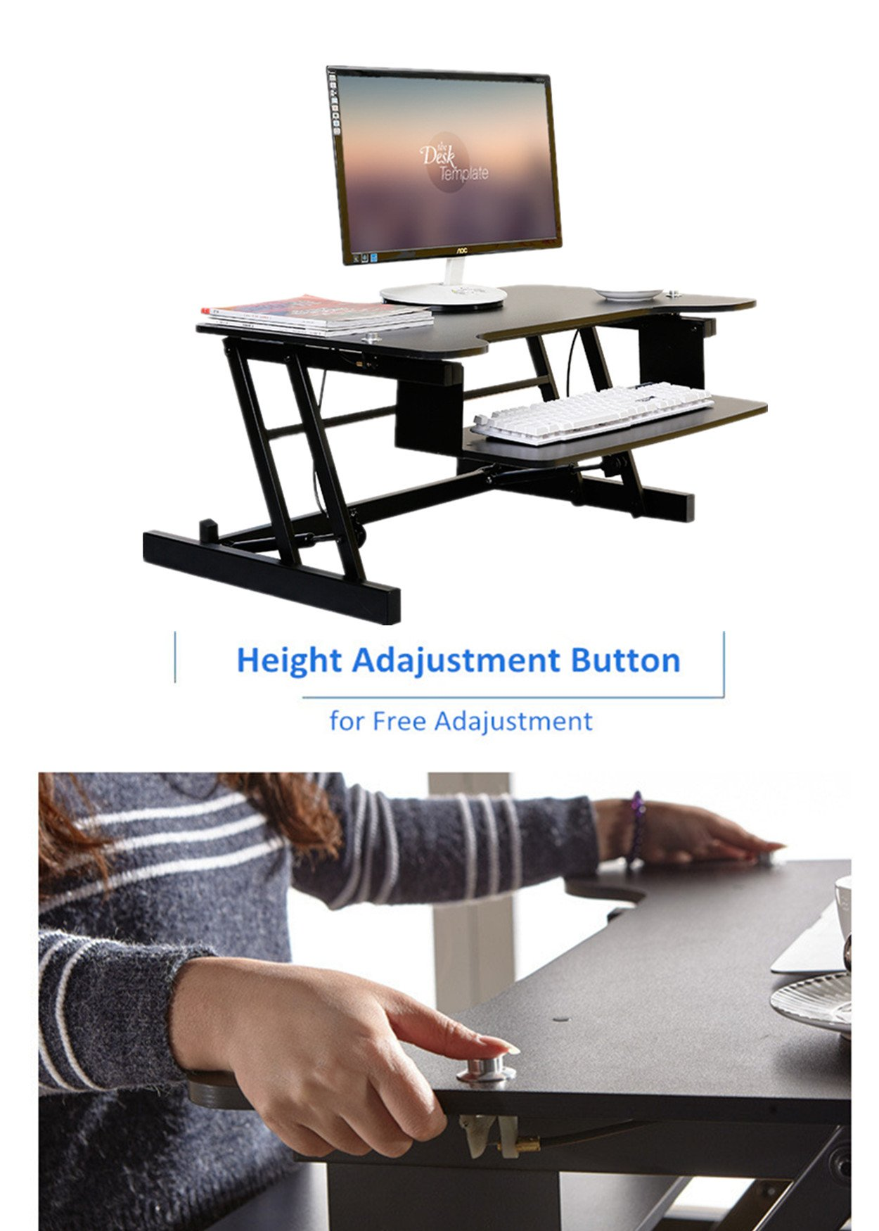 Mophorn Height Adjustable Standing Desk 2 Dual Monitors 31 Inch Wide Sit Stand Desk Riser 88Lbs Capacity Stand Up Desk Converter with Dedicated Keyboard Tray Elevating Desktop Riser Black by Mophorn (Image #1)