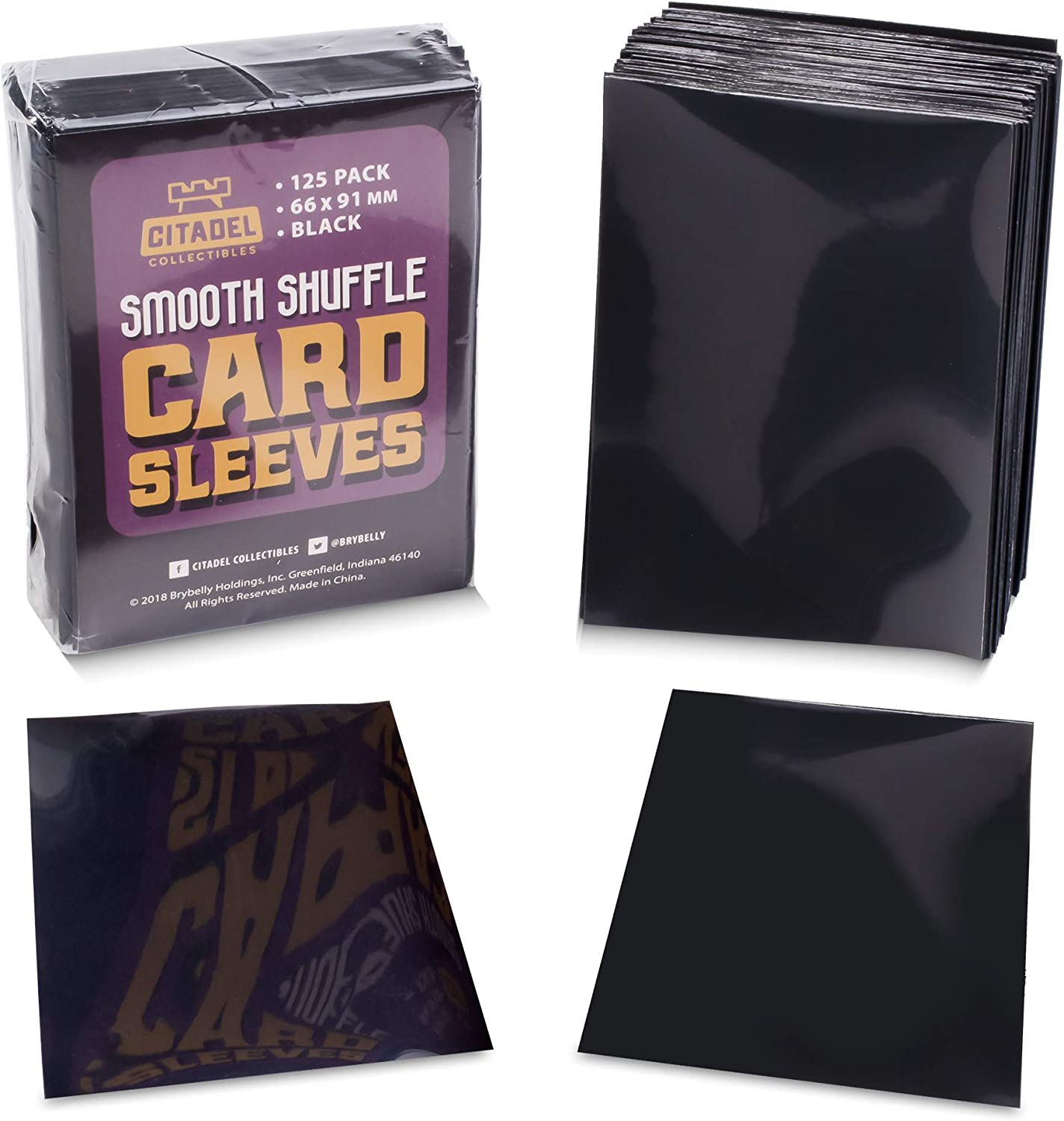 and Collecting Outer Sleeves Compatible with All Popular TCG Card Games Games Smooth Shuffle Durable Plastic Card Protectors for Draft 125 Black Matte Trading Card Sleeves