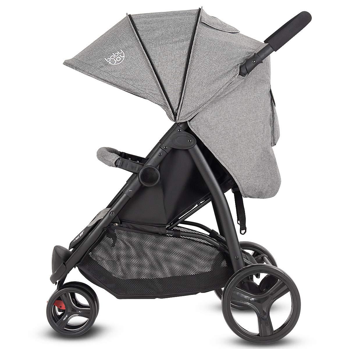 BABY JOY Baby Jogger Stroller, Infant Travel Portable Jogging Stroller, Folding Pushchair w/Removable Bar, Wallet Bog, 5-Point Harness, Storage Basket, Gray