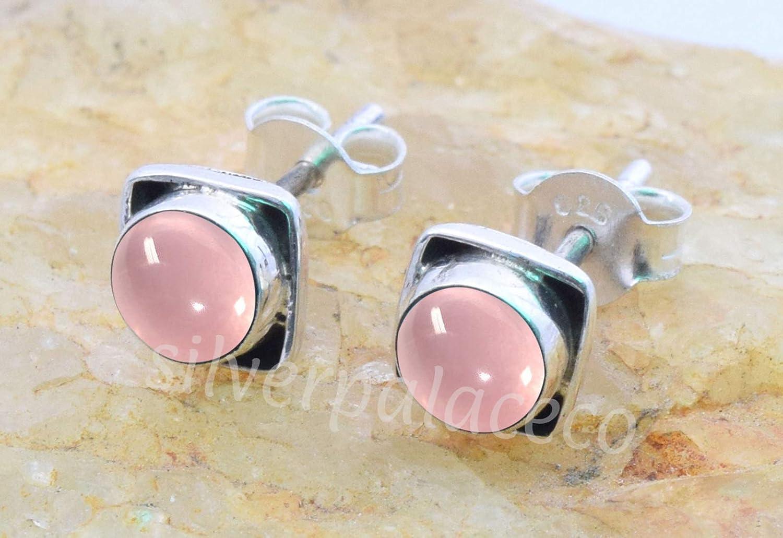 Pink Rose Quartz Post Stud Earrings 925 Sterling Silver Rose Quartz Stone Gemstone Stud Earrings For Girls Women Jewellery