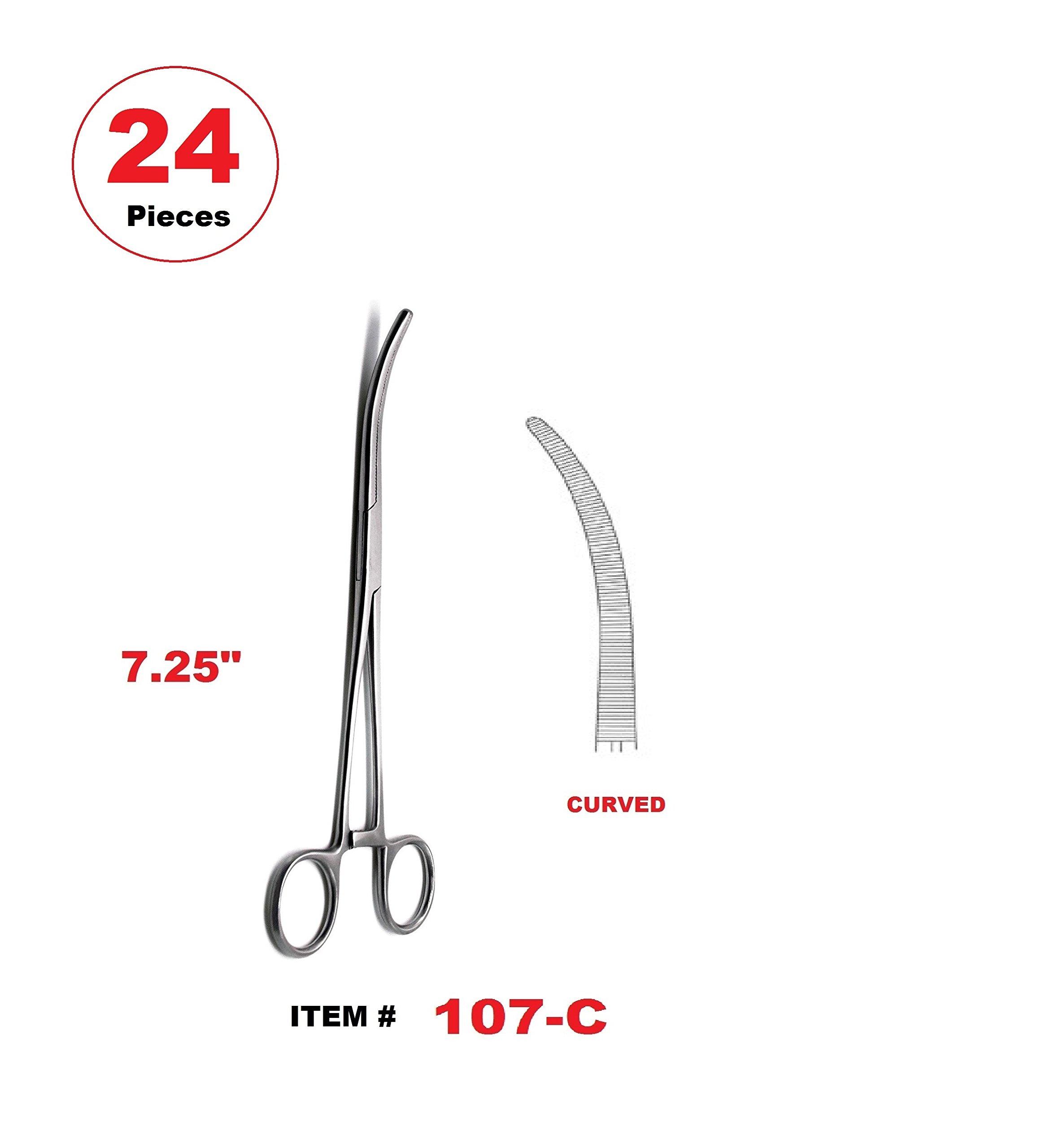 24 Pcs 7.25'' Pean Hemostat Locking Forceps Curved