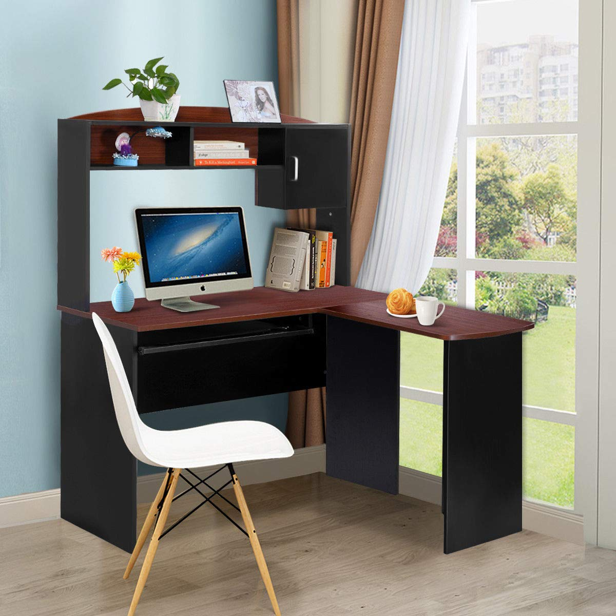 Tangkula l shaped desk corner desk home office wood workstation space saving computer desk with spacious wooden surface sliding keyboard tray