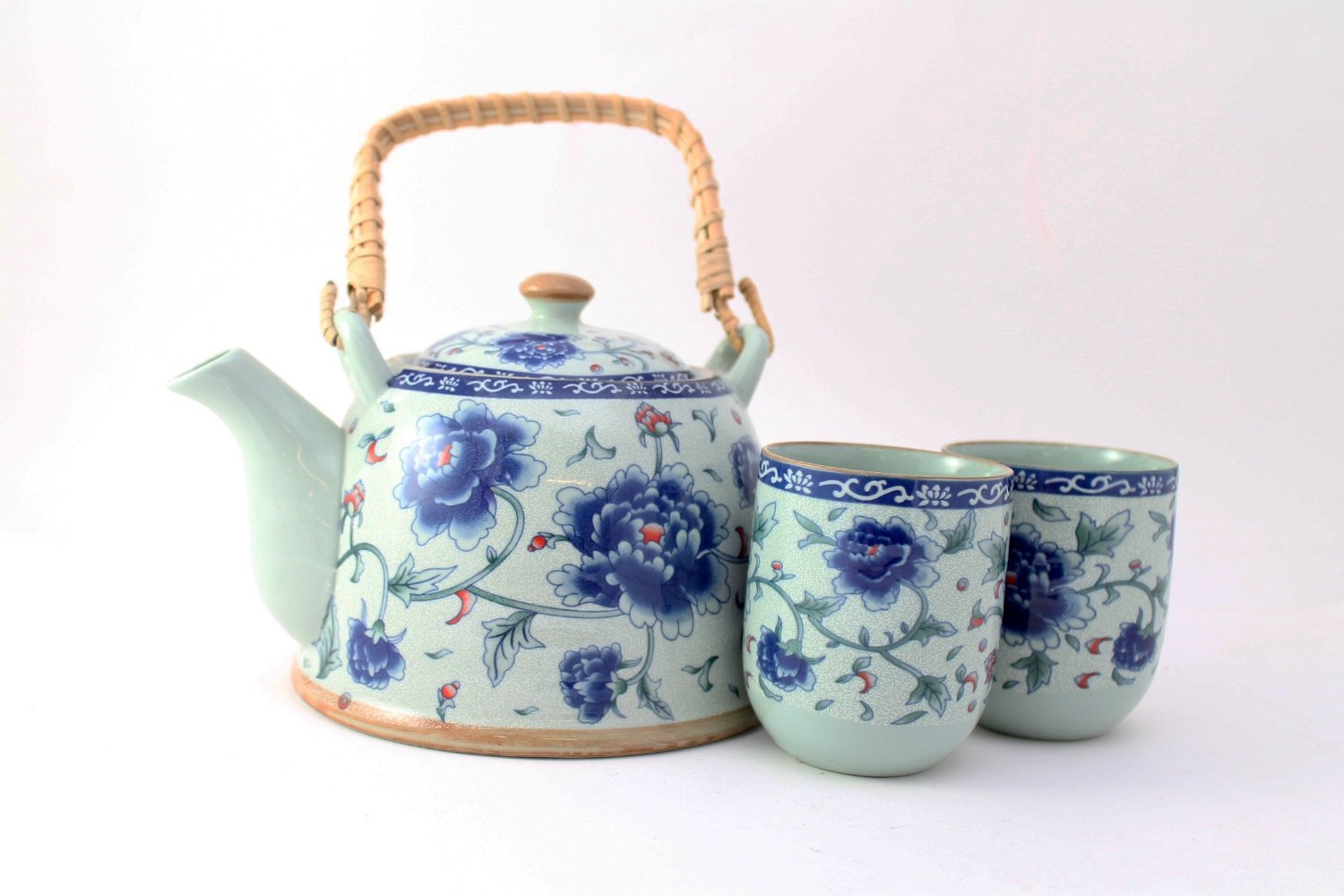 Chinese Tea Pot and 2 Tea Cup Set Infuser (mix styles) Teapot (Blue Flower)