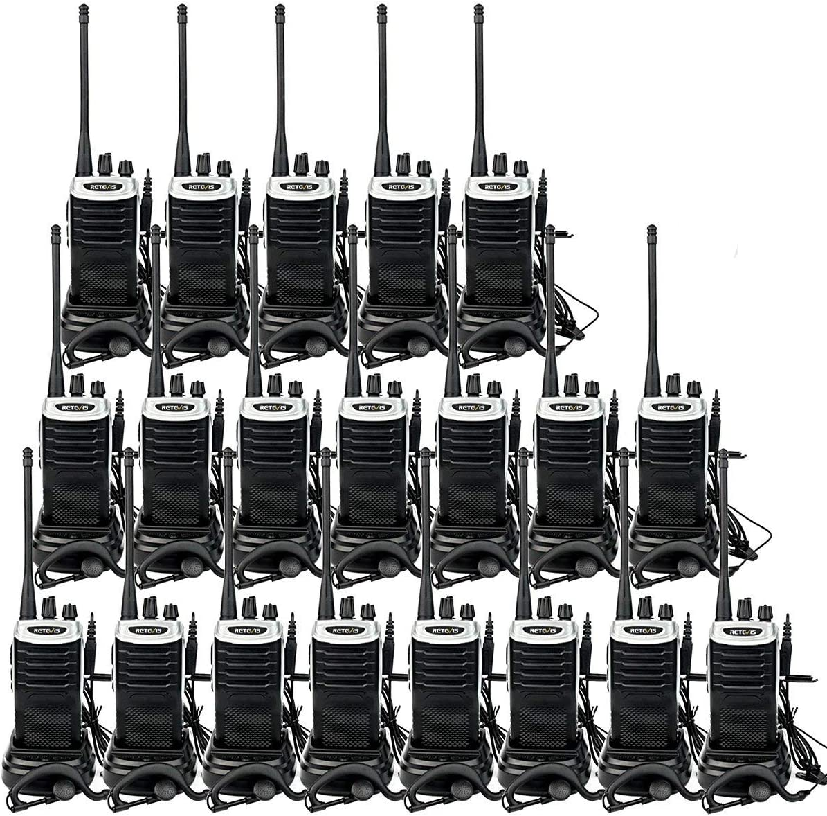 Retevis RT7 20 Pack Walkie Talkies with Earpiece, Long Range 2 Way Radios Flashlight 16CH VOX FM Emergency Business Two-Way Radios for Commercial Retail School Church Restaurant