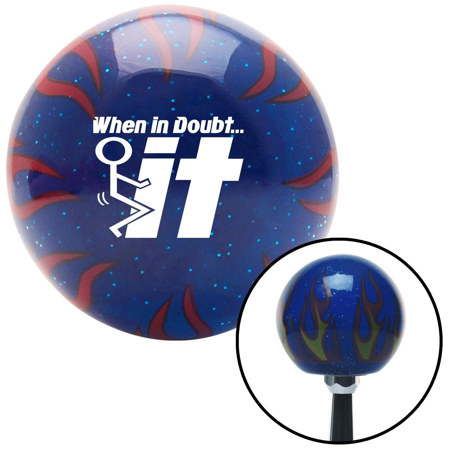 American Shifter 251732 Blue Flame Metal Flake Shift Knob with M16 x 1.5 Insert White When in Doubt