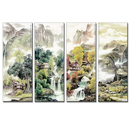 Amazon Com Vividhome Chinese Canvas Wall Art 4 Pieces Four