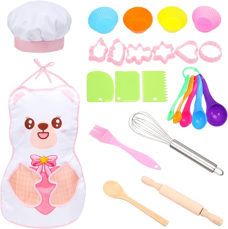 AOLIANDATONG 24PCS 키즈 요리 및 베이킹 세트 어린이 요리사 의상 에이프런 요리사 모자 UTENSIL 케이크 커터 실리콘 컵 케이크 금형을 포함하여 요리 베이킹 세트를 재생