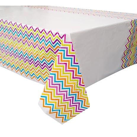 Rainbow Chevron Plastic Tablecloth, 84u0026quot; X 54u0026quot;