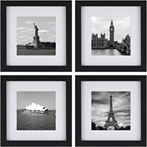 ONE WALL Tempered Glass 8x8 Picture Frame Set of 4, Black Wood Frame with Mats Display 5x5, 4x4 Photo for Wall and Tabletop - Mounting Hardware Included