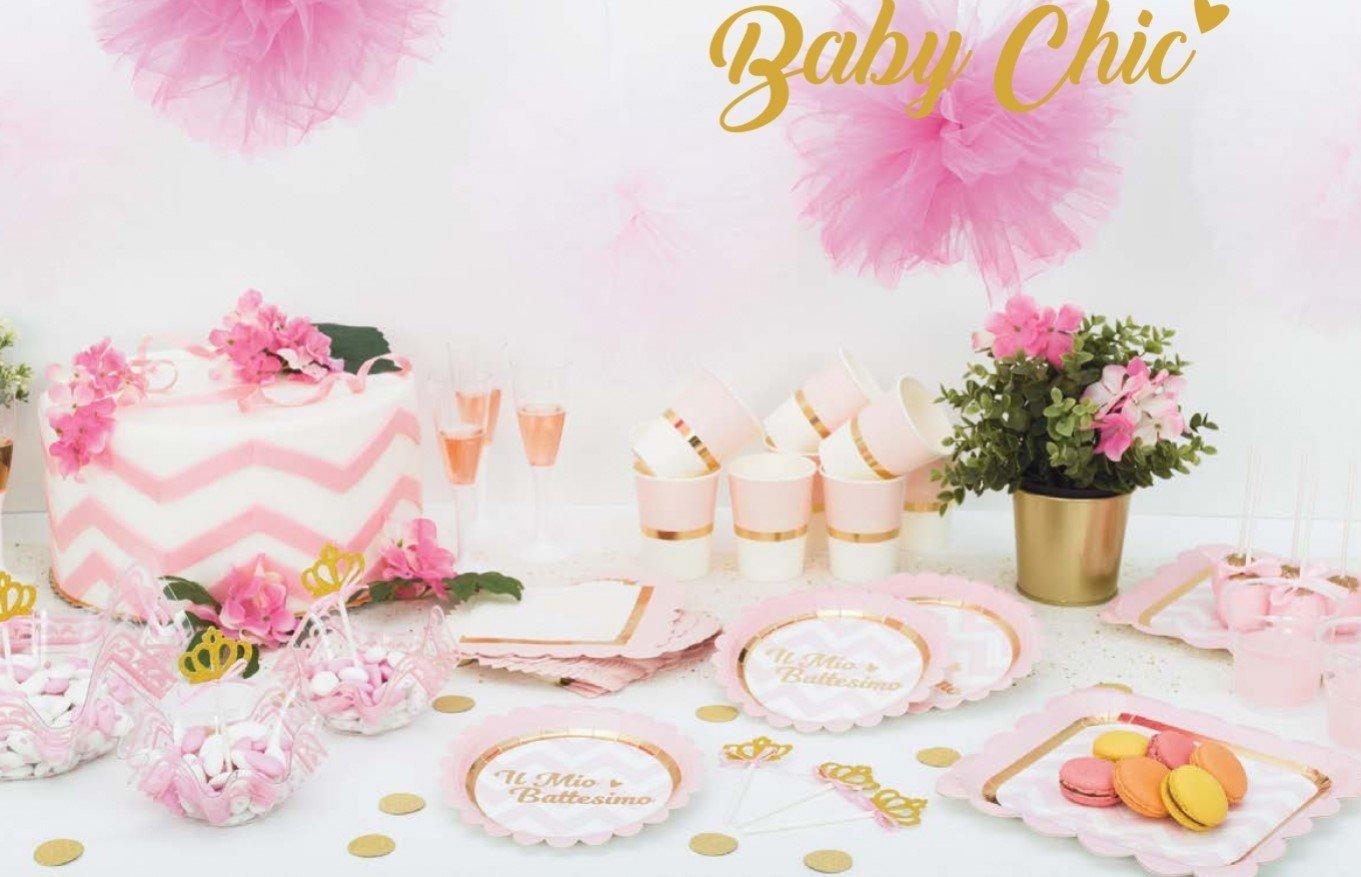 Piatti Di Carta Battesimo : Givi italia set festa party battesimo rosa per persone