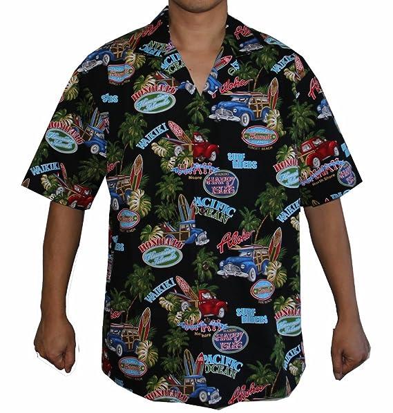 1b21b609 Men's Surf Riders Hawaiian Aloha Shirt (XL, BLACK) at Amazon Men's ...
