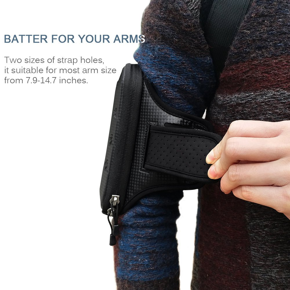 Large Running Armband, BUMOVE Waterproof Gym Exercise/Workout Arm Band Wallet Bag for iPhone X, iPhone 6/7/8 Plus, Samsung Galaxy S7, S8/S9 Plus, Note 8 with Card Holder (Black) by BUMOVE (Image #4)