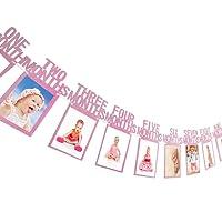 1er Anniversaire Guirlande de Banderoles Bébé Photo Bannière Bébé 1-12 Mois Photo Prop Party Bunting Décor Épaissi Kraft Carte Papier
