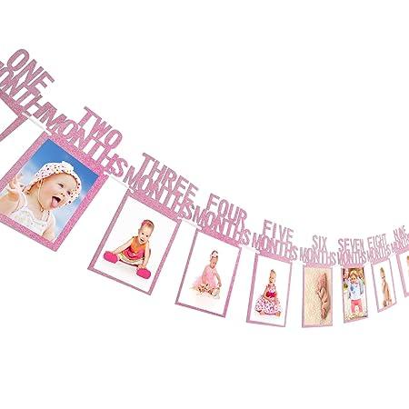 Amazon.com: bememo primer cumpleaños banderines de fotos de ...