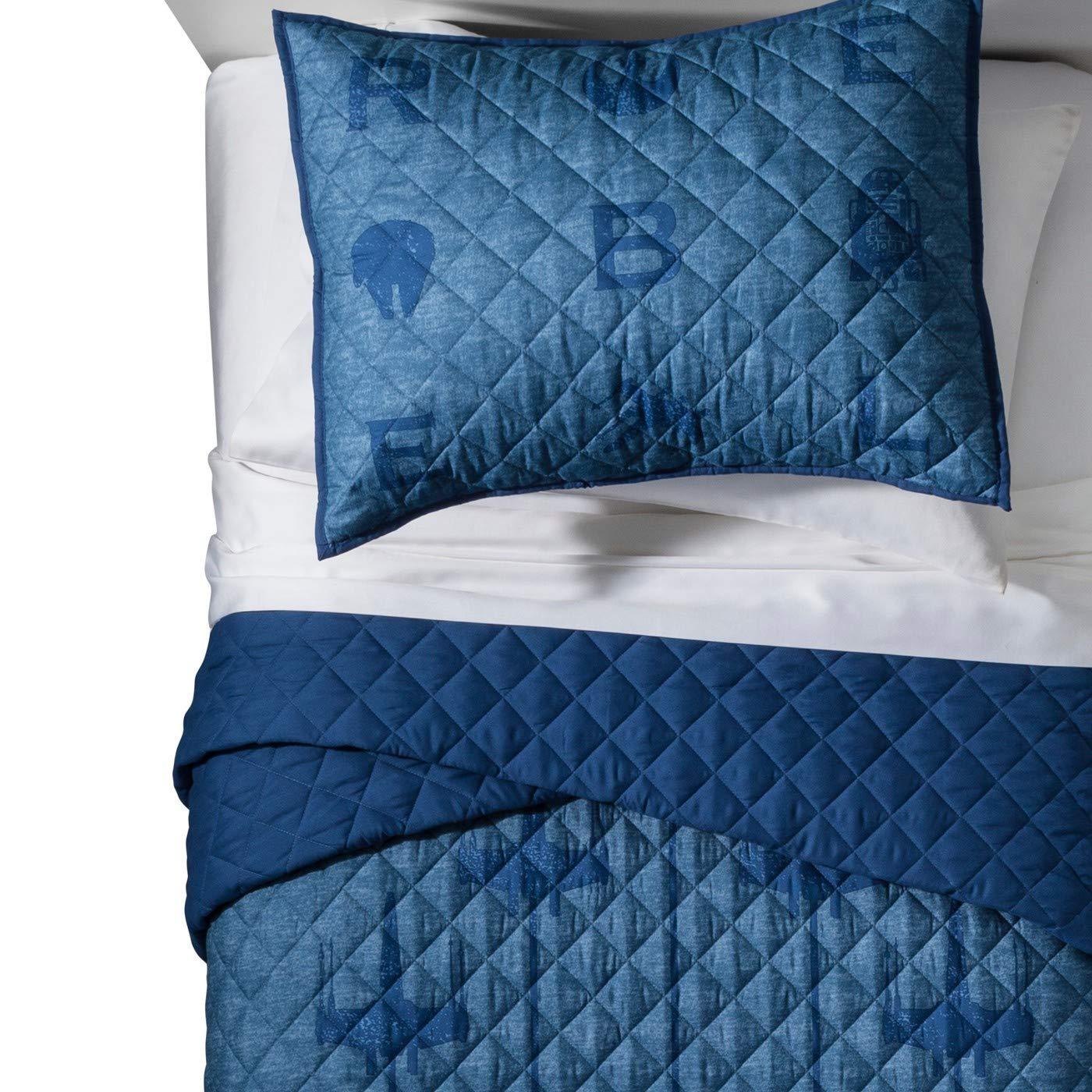 Star Wars Blue Quilt Set (Twin/Full) & Black Throw Pillow lucasfilm