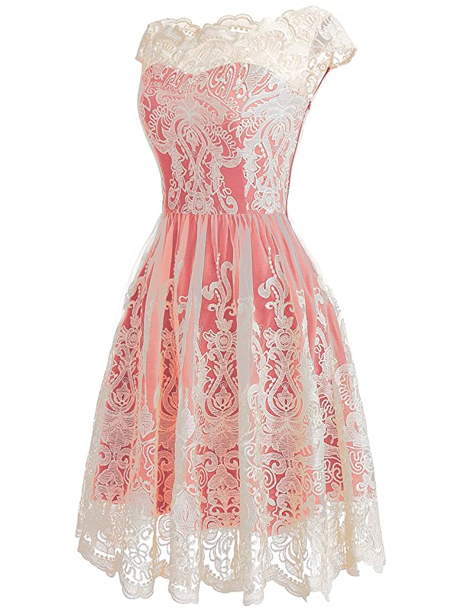 915e56f3398 DRESSTELLS Women s Homecoming Floral Embroidered Lace Cocktail Maxi Dress  with Cap-Sleeves at Amazon Women s Clothing store
