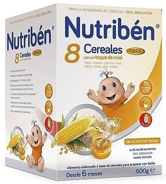 Nutribén Papilla 8 Cereales y Miel Fibra - 600 gr