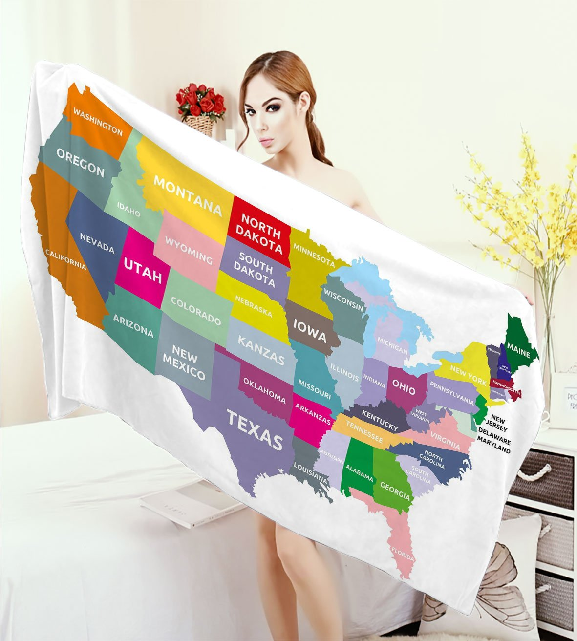 homecoco Map Thick Towels USA Map with Name of States in America Geography Cartography Theme 3D Printed Microfiber Beach Towel Multicolor