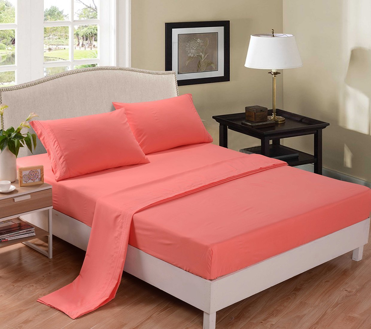 4PC Bedding Sheet Set, Sheet & Pillowcase Sets - Queen, Coral