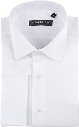 Enzo Di Milano Señor Camisa, Slim Fit, color blanco, talla S ...
