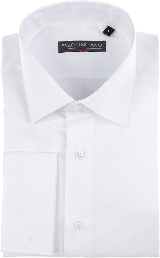 Enzo Di Milano Señor Camisa, Slim Fit, Color Blanco, Talla S: Amazon.es: Ropa y accesorios