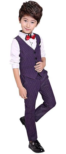 Amazon.com: luobobeibei niños rayas traje Set de chaleco ...