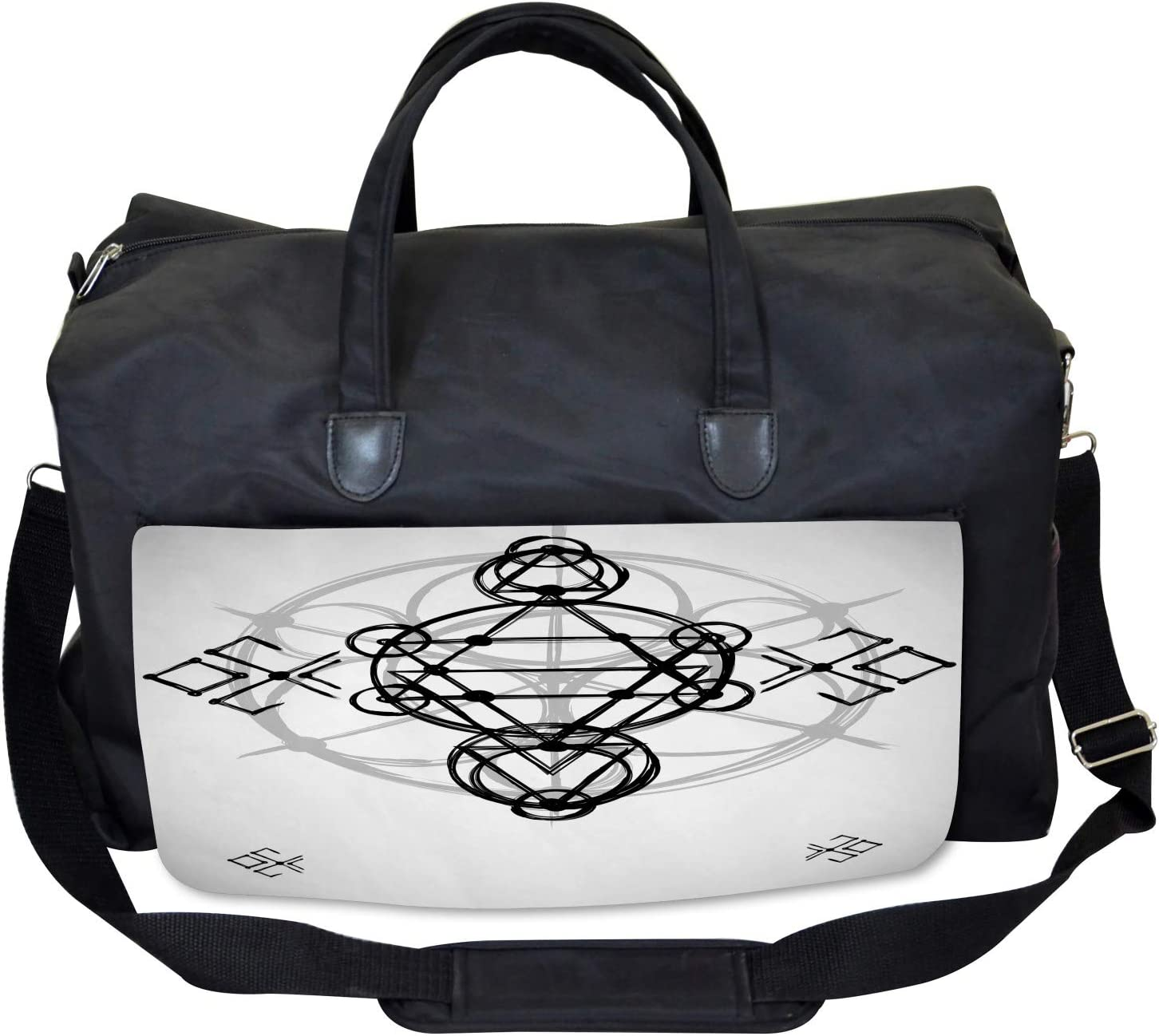 Ambesonne Gray Gym Bag Ancient Sketch Illustration Large Weekender Carry-on