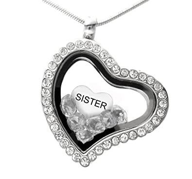 Sister locket necklace made with crystals from swarovski and a sister locket necklace made with crystals from swarovski and a floating charm 18quot chain gift mozeypictures Images