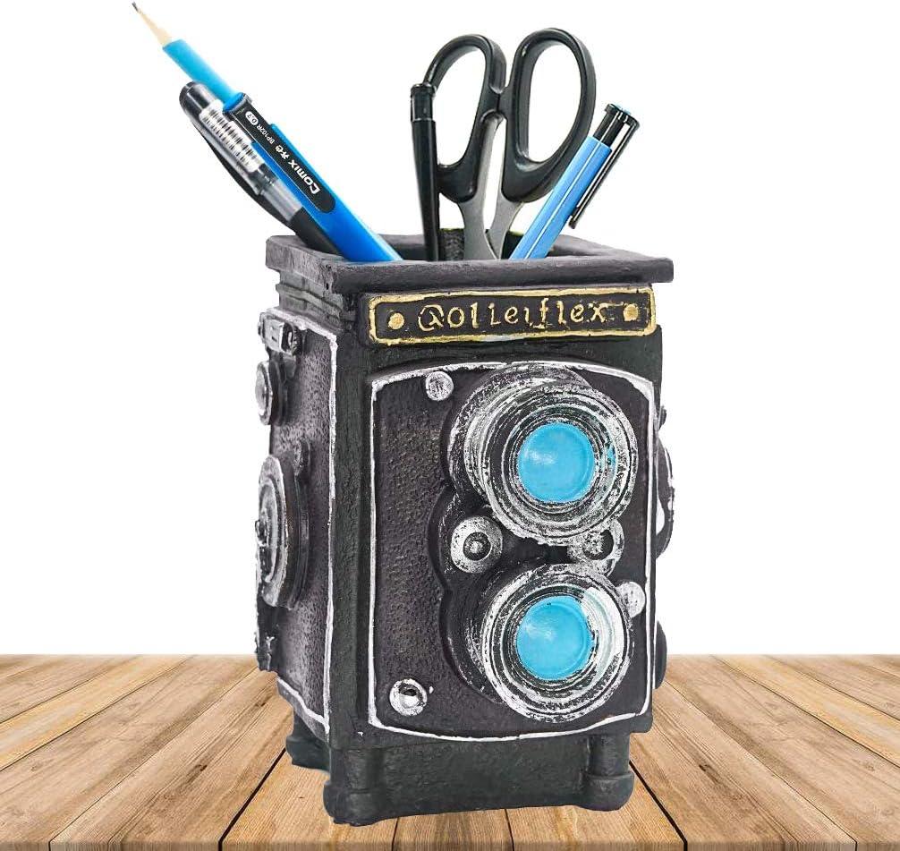 DreamsEden Cool Desk Pen Pencil Pot Holder Resin Vintage Camera Organizer Container, Office Bookshelf Decor