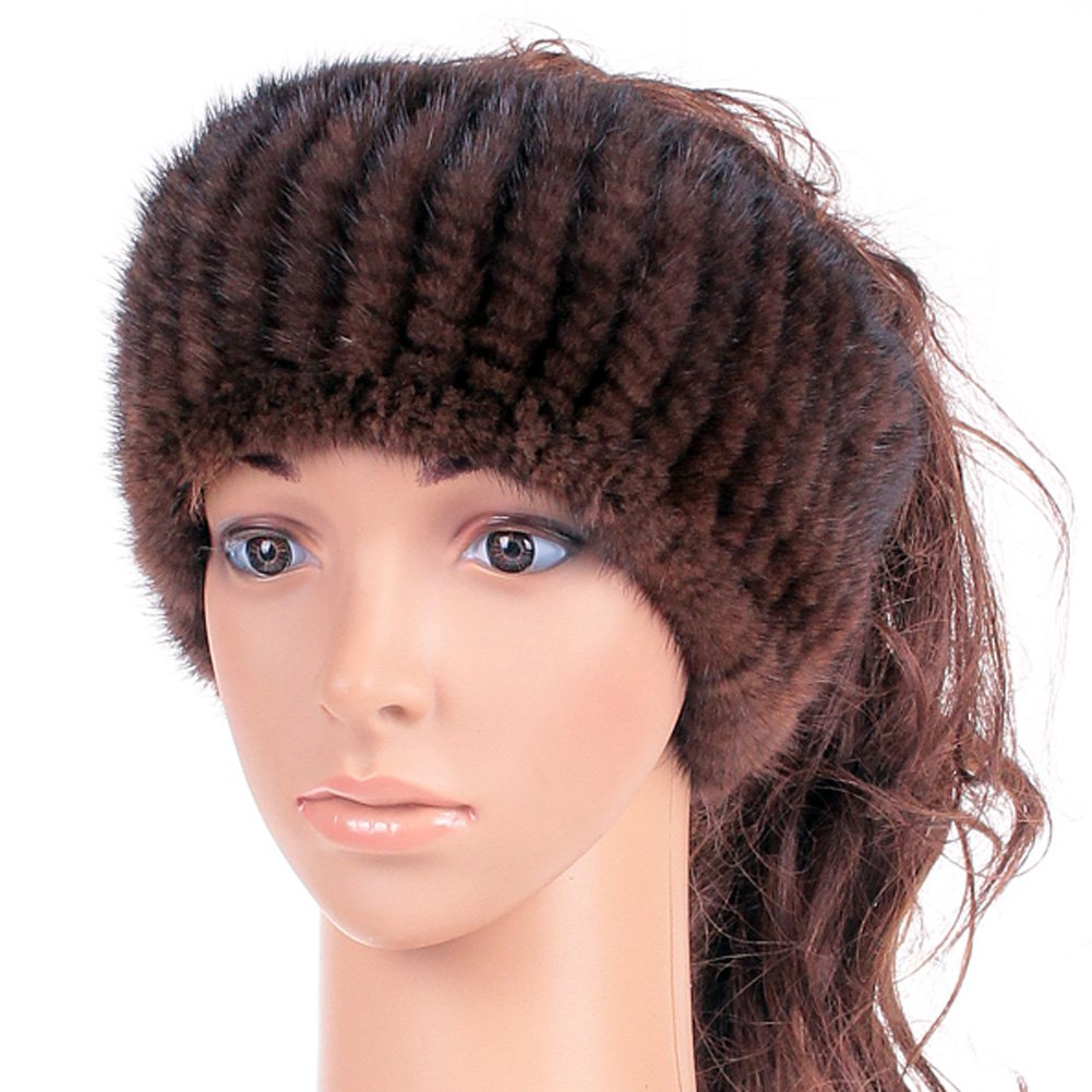 Genuine Winter and Autumn Mink Fur Headband Women Winter (Brown)