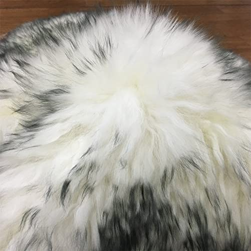 Longfeng Genuine Sheepskin Rug White Gray Quarto Pelt Natural Fur – Sheepskin Rug Pad for Bedroom Living Room Quarto 4ft x 6ft, White Gray