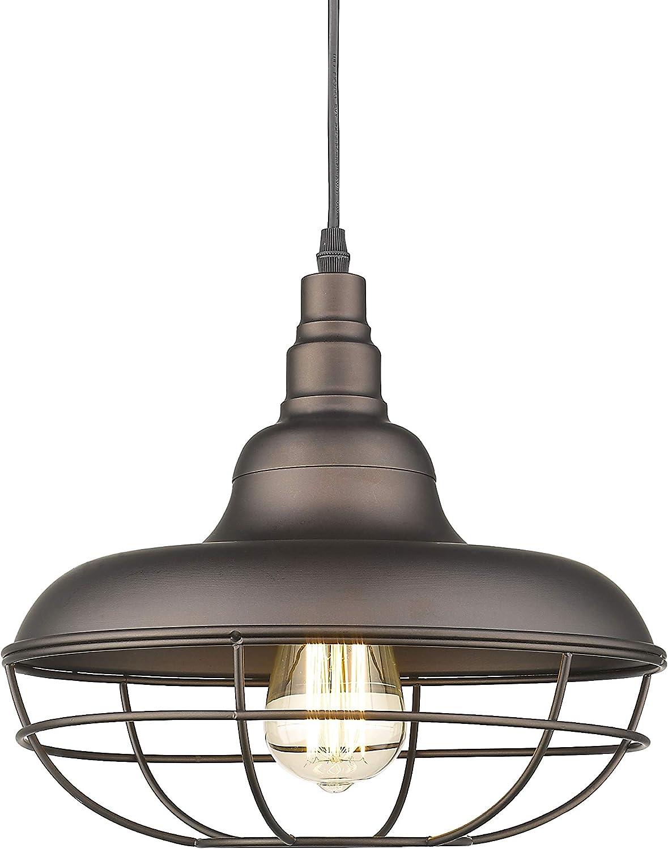 Emliviar Industrial Metal Cage Pendant Light, 12 Vintage Barn Light Farmhouse Lamp Shade Hanging Light, Oil Rubbed Bronze, 50007-MP