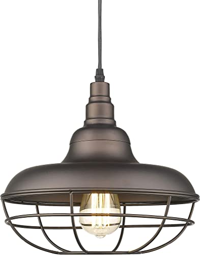 Emliviar Industrial Metal Cage Pendant Light, 12 Vintage Barn Light Farmhouse Lamp Shade Hanging Light, Oil Rubbed Bronze, 50007-MP