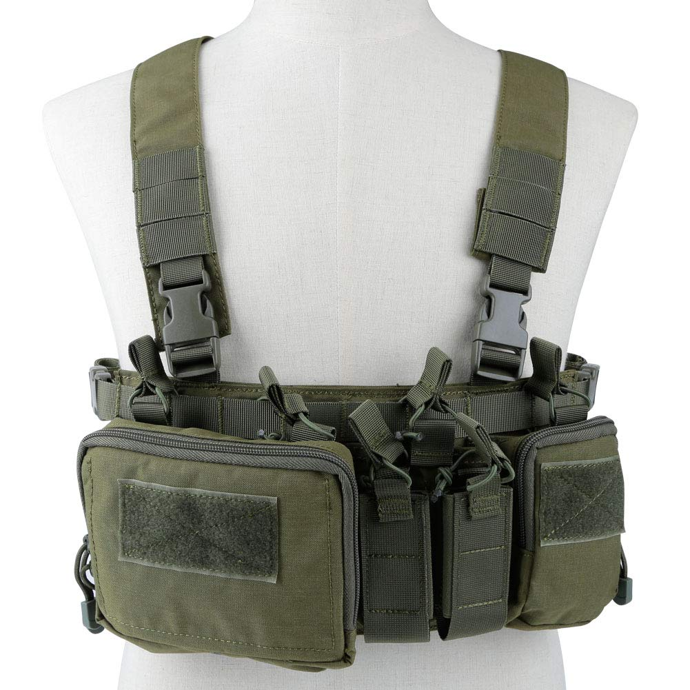 Lightweight Vest Military Recon Chest Rig with Molle Pocket Detachable Pouches