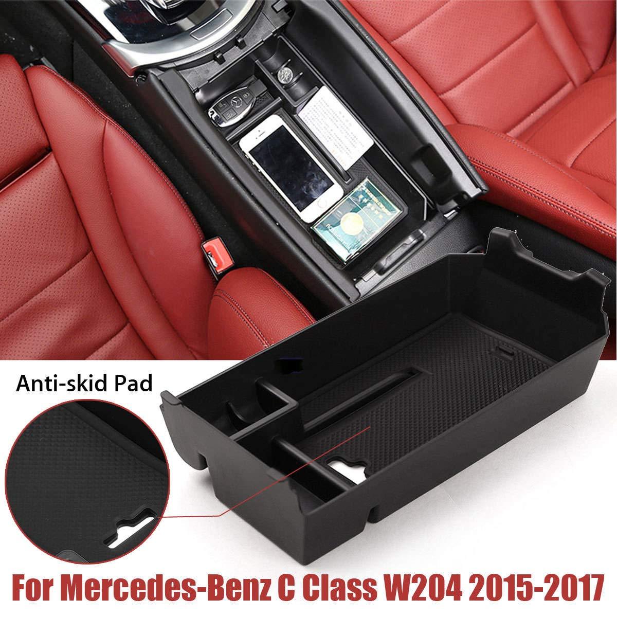 Plateau de Rangement Automatique pour Console Centrale et Accessoires de bo/îte de Rangement pour Mercedes-Benz Classe C W205 2015-2018 Gulin Stockage de Voiture Coupe du conteneur Noir