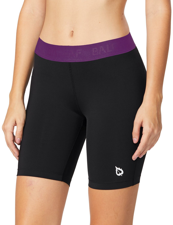 BALEAF Women's 7-Inch Active Fitness Compression Shorts Purple Size M by BALEAF