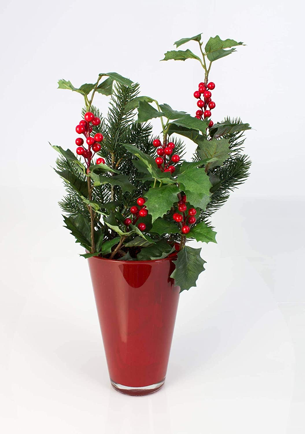 /Ø 14cm Vase Design Rouge Rouge 21cm INNA-Glas Petit Vase en Verre Conique Anna Vase /à Fleurs
