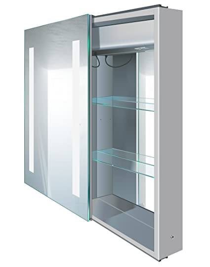 Charmant Amazon.com: Krugg | LED Medicine Cabinet 20 Inch X 30 Inch | Soft Close  Lighted Sliding Mirror| Includes Electrical Outlet + 2 Glass Shelves | Left  Side ...